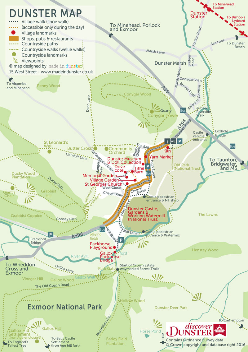 Discover Dunster map